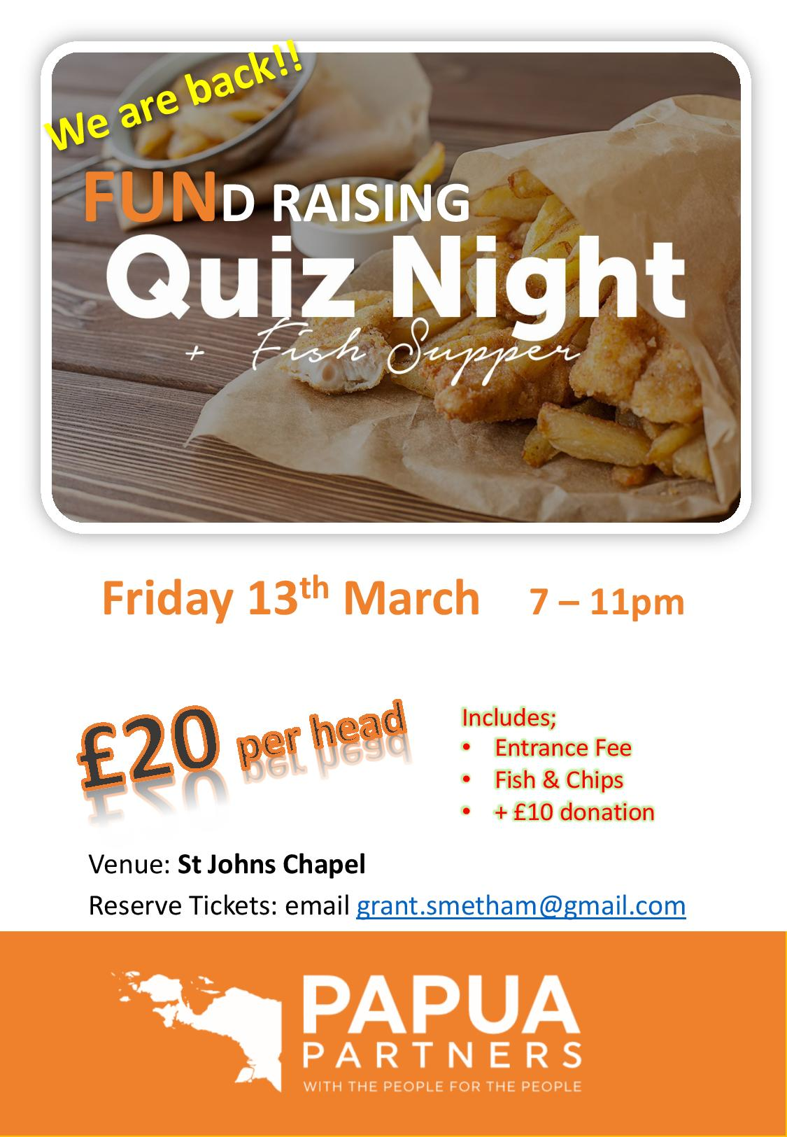 Quiz Night Poster - March 2020